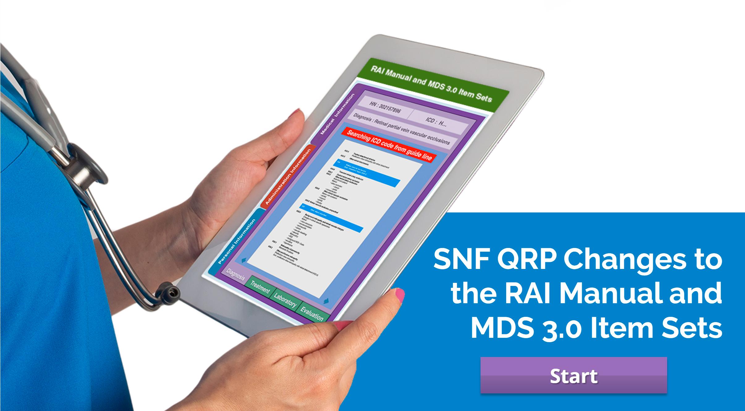 CMS SNF QRP: RAI Manual and MDS 3.0 Item Sets